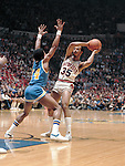 24 MAR 1980:  UCLA guard Michael Holton (14) and Louisville guard Darrell Griffith (35) during the NCAA Men's National Basketball Final Four championship game held in Indianapolis, IN, at the Market Square Arena. Louisville defeated UCLA 59-54 for the championship. Griffith was named MVP for the tournament. Photo by Rich Clarkson/NCAA Photos.SI CD 0023-24