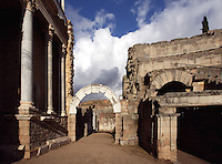 Scenae frons, built in 105 AD and restored between 333 and 335 AD; wide steps and back stage in the distance; Roman Theatre, built in 16 - 15 BC, promoted by Marcus Vipsanius Agrippa (63 BC-12 BC), Merida (Augusta Emerita, Capital of Hispania Ulterior), Extremadura, Spain
