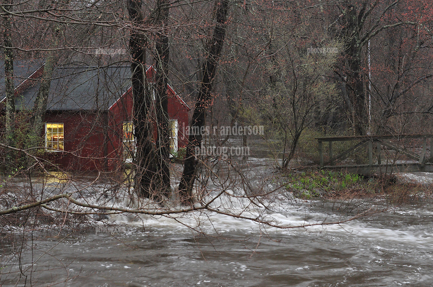 Flooding of the Falls River Pond along River Road in Essex CT on 30 March 2010