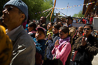 Ladakhi buddhists gather in Chokhang Vihara, the central monastery in Leh town, Ladakh, Jammu & Kashmir, India, on 31st May 2009 to welcome the high lama, the venerable 9th Choegon Rinpoche for the 6th Tara Ceremony 2009.   Photo by Suzanne Lee
