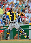 16 May 2012: Pittsburgh Pirates catcher Rod Barajas in action against the Washington Nationals at Nationals Park in Washington, DC. The Nationals defeated the Pirates 7-4 in the first game of their 2-game series. Mandatory Credit: Ed Wolfstein Photo