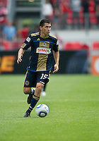 Philadelphia Union midfielder/defender Gabriel Farfan #15 in action during an MLS game between the Philadelphia Union and the Toronto FC at BMO Field in Toronto on May 28, 2011..The Philadelphia Union won 6-2..