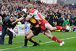 Jason Tovey is pushed out by Iain Balshaw. Gloucester V Newport Gwent Dragons, EDF Energy Cup  © Ian Cook IJC Photography iancook@ijcphotography.co.uk www.ijcphotography.co.uk