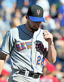 New York Mets first baseman Daniel Murphy (28) leaves the field following his team's 3 - 2 loss to the Washington Nationals at Nationals Park in Washington, D.C. on Sunday, July 31, 2011. .Credit: Ron Sachs / CNP.(RESTRICTION: NO New York or New Jersey Newspapers or newspapers within a 75 mile radius of New York City)