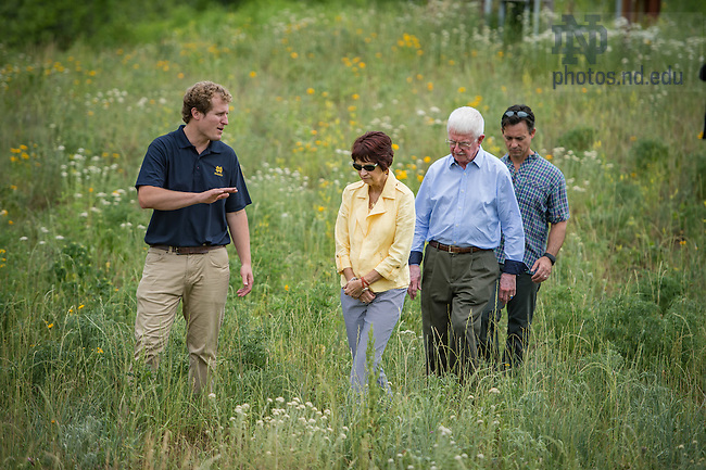June 10, 2016; Assistant Director of the Notre Dame Environmental Change Initiative Brett Peters gives a guided tour to Jim and Joanne Morrison, benefactors of the Morrison Pavilion at the ND LEEF facility in St. Patrick's County Park. (Photo by Matt Cashore/University of Notre Dame)
