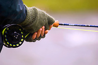 Atlantic Salmon Catch and Release Fly Fishing in Iceland. It can get cold and wet fishing in Iceland, wool mittens are a must, and a spare.