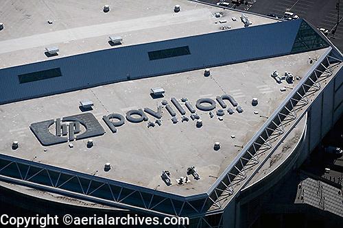 aerial photograph HP Pavilion at San Jose, San Clara county, California