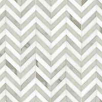 Name: Maharaja Stripe 1<br /> Style: Contemporary<br /> Product Number: NRFMAHST1<br /> Description: 24&quot;x 24&quot; Maharaja Stripe 1 in Calacatta Tia (p), Thassos (h)