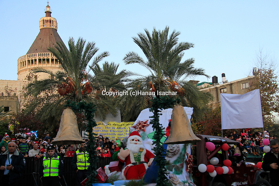 Israel, Galilee, Christmas celebrations in Nazareth, the Church of the Annunciation is in the background