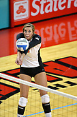 13 September 2011: Brooklyn Hlafka receives the ball during an NCAA volleyball match between the Ramblers of Loyola and the Illinois State Redbirds at Redbird Arena in Normal Illinois.