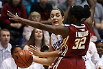 17 December 2014: Duke's Rebecca Greenwell (in white) and Oklahoma's LaNesia Williams (32). The Duke University Blue Devils hosted the University of Oklahoma Sooners at Cameron Indoor Stadium in Durham, North Carolina in a 2014-15 NCAA Division I Women's Basketball game. Duke won the game 92-72.