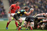 Nic Groom of Northampton Saints looks to put the ball into a scrum. Aviva Premiership match, between Northampton Saints and Saracens on April 16, 2017 at Stadium mk in Milton Keynes, England. Photo by: Patrick Khachfe / JMP