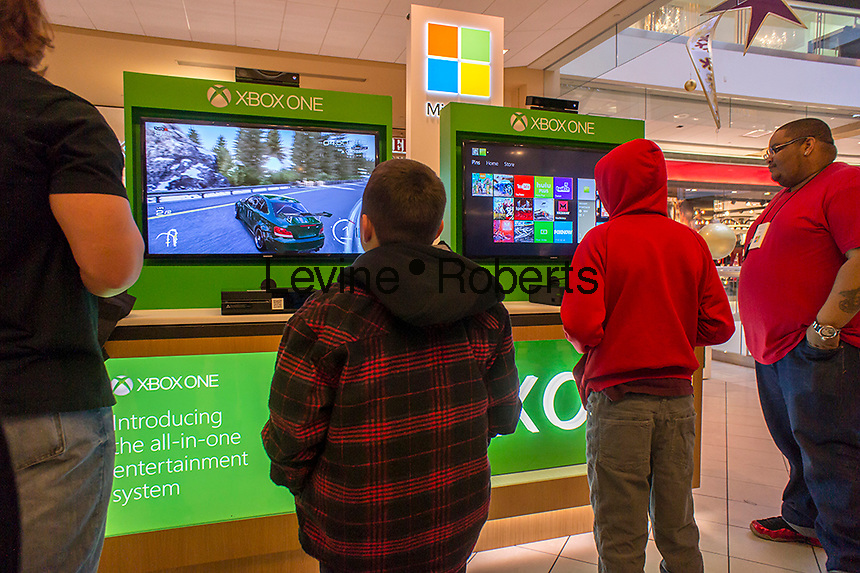 Shoppers at the Microsoft kiosk in the Queens Center Mall in the borough of Queens in New York on Sunday, December 15, 2013 looking for bargains. A study by the National Retail Federation says that $600 billion in holiday purchases will be made by Americans, accounting for 19.3% of all retail sales. (© Richard B. Levine)