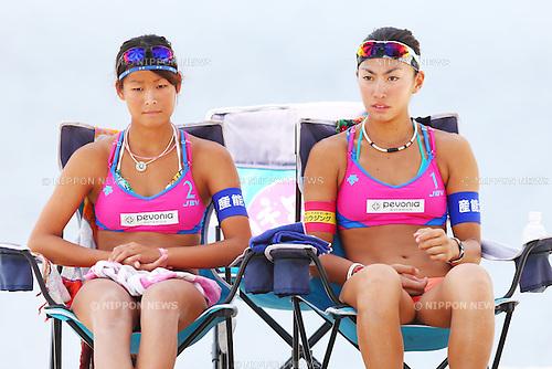 Chiyo Suzuki &amp; Satono Ishitsubo,<br /> SEPTEMBER 21, 2015 - Beach Volleyball : <br /> JBV Tour 2015 Tokyo Open<br /> Women's Final<br /> at Odaiba Beach, Tokyo, Japan.<br /> (Photo by Shingo Ito/AFLO SPORT)