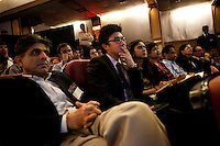 Attendees listen to the talks at the India Islamic Cultural Centre during the TEDxChange @ TEDxDelhi in New Delhi, India on 22nd March 2011..
