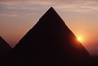 Sun Setting behind Pyramid