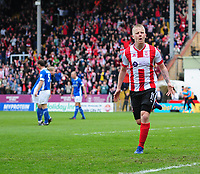 Lincoln City's Terry Hawkridge celebrates scoring his sides equalising goal to make the score 1-1<br /> <br /> Photographer Chris Vaughan/CameraSport<br /> <br /> Vanarama National League - Lincoln City v Macclesfield Town - Saturday 22nd April 2017 - Sincil Bank - Lincoln<br /> <br /> World Copyright &copy; 2017 CameraSport. All rights reserved. 43 Linden Ave. Countesthorpe. Leicester. England. LE8 5PG - Tel: +44 (0) 116 277 4147 - admin@camerasport.com - www.camerasport.com