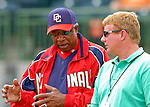 10 March 2006: Frank Robinson, Manager of the Washington Nationals (left), discusses matters with General Manager Jim Bowden (right) prior to a Spring Training game against the Houston Astros. The Astros defeated the Nationals 8-6 at Osceola County Stadium, in Kissimmee, Florida...Mandatory Photo Credit: Ed Wolfstein..