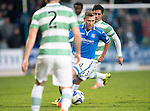 St Johnstone v Celtic...07.05.14    SPFL<br /> Paddy Cregg gets away from Beram Kayal<br /> Picture by Graeme Hart.<br /> Copyright Perthshire Picture Agency<br /> Tel: 01738 623350  Mobile: 07990 594431