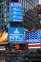 Promotions for Super Bowl XLVIII, held at Met Life Stadium in NJ on February 2, 2014, are seen in Times Square in New York on Sunday, December 29, 2013. Despite the game being held in New Jersey sports fans are expected to pack New York to take part in the multitude of activities planned around the game.  (© Richard B. Levine)