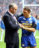 PICTURE BY VAUGHN RIDLEY/SWPIX.COM...Rugby League - Carnegie Challenge Cup Final 2011 - Leeds Rhinos v Wigan Warriors - Wembley Stadium, London, England - 27/08/11...Leeds Coach Brian McDermott and Captain Kevin Sinfield chat prior to the National Anthem.