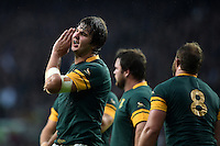 Lood de Jager of South Africa has a word with his team-mates. Rugby World Cup Semi Final between South Africa and New Zealand on October 24, 2015 at Twickenham Stadium in London, England. Photo by: Patrick Khachfe / Onside Images