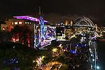 Sydney Harbour Bridge and The Rocks during Vivid Light Festival, Sydney, NSW, Australia.
