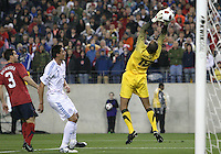 David Yeldell(18) of the USA MNT makes a save in front of Oscar Cardoza(7) of Paraguay during an international friendly match at LP Field, in Nashville, TN. on March 29, 2011.Paraguay won 1-0.