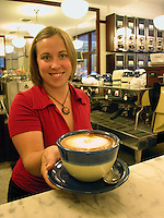 Intelligentsia Fresh roasted coffee, Cappuccino, Chicago, Illinois, USA