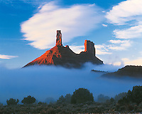 Castle Rock in Fog, Castle Valley, Utah   Proposed La Sal Waters Wilderness   Also called Castleton Tower and Chevrolet Rock     Near Moab, Utah     Castle Valley, Utah Colorado River
