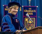 May 17, 2014; 2014 Graduate School Dean Laura Carlson speaks at the 2014 Graduate School Commenement ceremony<br /> <br /> Photo by Matt Cashore/University of Notre Dame