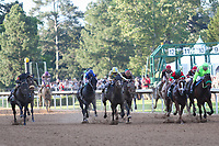 HOT SPRINGS, AR - April 15: The field races down the stretch for the final time in Oaklawn's signature Kentucky Derby prep race; Classic Empire #2 (center) prevailed under jockey Julien Leparoux to win the Arkansas Derby at Oaklawn Park on April 15, 2017 in Hot Springs, AR. (Photo by Ciara Bowen/Eclipse Sportswire/Getty Images)