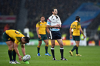 Referee Craig Joubert looks on after a controversial call late in the game. Rugby World Cup Quarter Final between Australia and Scotland on October 18, 2015 at Twickenham Stadium in London, England. Photo by: Patrick Khachfe / Onside Images