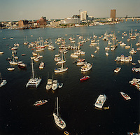 "1991 June ..Redevelopment.Downtown South (R-9)..Harborfest Aerials from helicopter.Low angle from Portsmouth.2 1/4""  color negs...NEG#.NRHA#.06/91  (REDEV  :DT  Sth3:2  :11  :1-F5)."