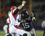 Ole Miss linebacker Joel Kight (15) vs. Louisiana-Lafayette in Oxford, Miss. on Saturday, November 6, 2010. Ole Miss won 43-21.