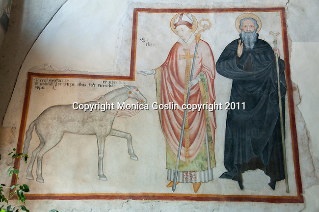 A 16th century fresco in the complex of the Hermitage of Santa Caterina del Sasso, a church and convent on the side of the mountain overlooking Lake Maggiore, Italy.
