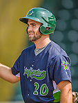 8 July 2015: Vermont Lake Monsters catcher Nick Collins awaits his turn in the batting cage prior to a game against the Mahoning Valley Scrappers at Centennial Field in Burlington, Vermont. The Lake Monsters defeated the Scrappers 9-4 to open the home game series of NY Penn League action. Mandatory Credit: Ed Wolfstein Photo *** RAW Image File Available ****