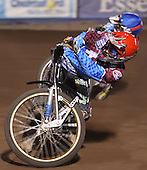 Jonas Davidsson (red) and Paul Hurry (blue) - Lakeside Hammers vs Wolverhampton Wolves, Elite Shield Speedway at the Arena Essex Raceway, Purfleet - 26/03/10 - MANDATORY CREDIT: Rob Newell/TGSPHOTO - Self billing applies where appropriate - 0845 094 6026 - contact@tgsphoto.co.uk - NO UNPAID USE.