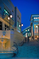 Via Rodeo, Beverly Hills, CA, Exterior, Architecture, Architectural, Dusk, Twilight, night,Boutiques, Department Stores, Shopping Malls,
