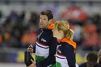 SPEED SKATING: CALGARY: Olympic Oval, 08-03-2015, ISU World Championships Allround, Marianne Timmer en Gianni Romme, ©foto Martin de Jong