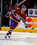11 November 2008: Montreal Canadiens' defenseman Andrei Markov from Russia warms up prior to facing the Ottawa Senators at the Bell Centre, in Montreal, Quebec, Canada. The Canadiens shut out the Senators 4-0 as the Habs celebrate their 100th Season...Mandatory Photo Credit: Ed Wolfstein Photo *** Editorial Sales through Icon Sports Media *** www.iconsportsmedia.com