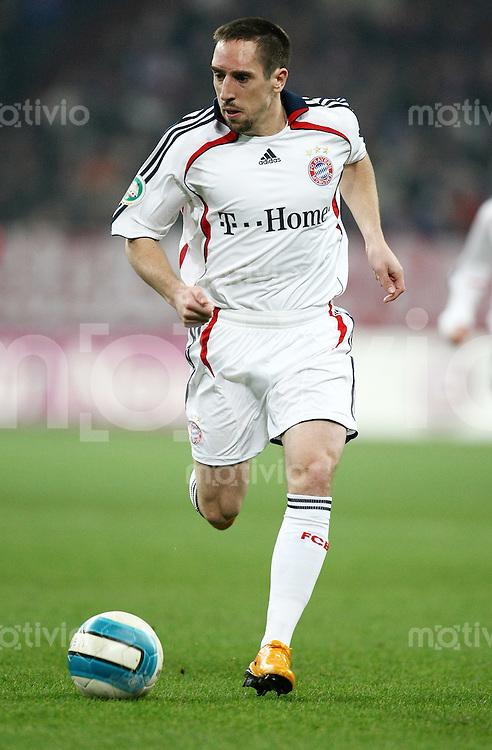 FUSSBALL     1. BUNDESLIGA/DFB POKAL     SAISON 2007/2008 Franck RIBERY (FC Bayern Muenchen), Einzelaktion am Ball