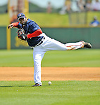 15 March 2008: Washington Nationals' infielder Cristian Guzman is unable to get a handle on the play during a Spring Training game against the Los Angeles Dodgers at Space Coast Stadium, in Viera, Florida...Mandatory Photo Credit: Ed Wolfstein Photo