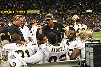 "FILE-- According to an NFL investigation, from 2009 to 2011 the New Orleans Saints created an unseemly bounty system that rewarded defensive players for injuring opponents. The program, administered by Saints defensive coordinator Gregg Williams, financed by Saints players and strictly forbidden by the NFL, offered $1,000 for a hit that forced a player to be carted off to the sideline and $1,500 for one that knocked a player out of the game©SuziAltmanPictured is New Orleans Saints head coach Sean Payton covering his face with his visor. Greg Williams, Defensive Coordiantor for the New Orleans Saintshas been suspended indefiently from the NFL  because of his ""bounty system"" he had in place while coaching for the Saints during the 2009,2010 & 2011 NFL seasons. Coach Sean Payton was suspended for one year and General manager Micky Loomis was suspended for 8 games for thier roles in the ""Bounty scandal"". File Photo of Defensive coach Greg Willams and coach Sean Payton coaching during the Saints pre season game against the San Diego Chargers Friday Aug 27,2010. The San Diego charges cut Drew Brees a few years ago, allowing him to be picked up by the Saints as a free agent. The Saints won 36-21 at half time.Photo© Suzi AltmanNew Orleans Saints head coach Sean Payton speaks to the media after beating the Atlanta Falcons and going 7-0.  fans celebrate after beating the Atlanta Falcons in the SuperDome 35-17. New Orleans Saints TE  Jermey Shockey (88) grtabs the ball for a reception and a first down during the game against the Atlanta Falcons in the first half of a NFL football game in the SuperDome in Louisiana, Monday, Nov.2, 2009. The saints went on to win 35 to 27 and remain undefeated in te NFC South. Photos©SuziAltman/SuziSnaps.com.NFL Saints Cowboys Saturday Dec. 19, 2009 in New Orleans Louisiana at. Saints lost to the Cowboys 24-17 and the Saints are now 13-1.Photo©Suzi Altman/Suzisnaps.com"