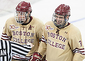 Bill Arnold (BC - 24), Ian McCoshen (BC - 3) - The Boston College Eagles defeated the visiting University of Notre Dame Fighting Irish 4-2 to tie their Hockey East quarterfinal matchup at one game each on Saturday, March 15, 2014, at Kelley Rink in Conte Forum in Chestnut Hill, Massachusetts.