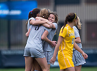Marina Paul (5) of Georgetown celebrates her goal with Daphne Corboz (6) and other teammates during the first round of the NCAA tournament at Shaw Field in Washington, DC.  Georgetown defeated La Salle, 2-0.