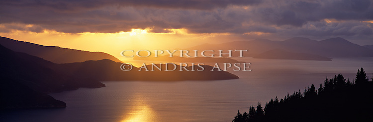 Sunrise from Scott Point of Queen Charlotte Sound. Marlborough Sounds. New Zealand.