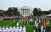 United States President Barack Obama and First Lady Michelle Obama welcome President XI Jinping and Madame Peng Liyuan of China an official State Visit on the South Lawn of the White House in Washington, DC on Friday, September 25, 2015.<br /> Credit: Ron Sachs / CNP