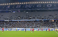 Fussball 2. Bundesliga:  Saison   2012/2013,    16. Spieltag  TSV 1860 Muenchen - SC Paderborn  27.11.2012 Kaum Zuschauer in der Allianz Arena