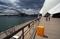 My Roncato suitcase in front of the Sydney Harbour Bridge, 1995.
